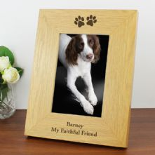 Personalised Dog Gifts: Oak Finish 4x6 Paw Prints Photo Frame